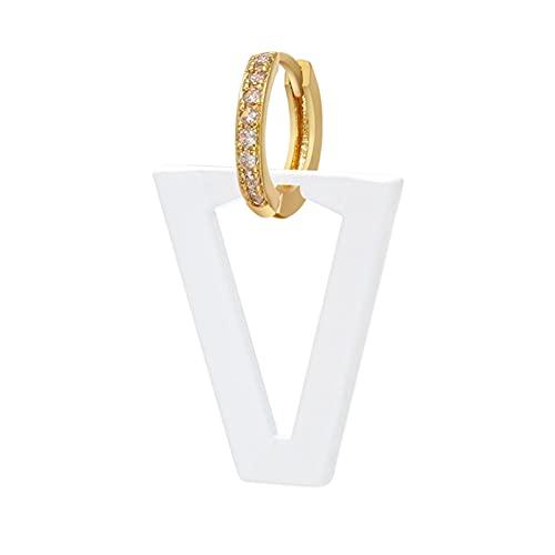 DFGDFG Triángulo geométrico aretes de aro de neón Esmalte de neón Mujeres cuelga Pendiente Oro Plata Color joyería (Main Stone Color : 1 Piece, Metal Color : Rose Gold Color)