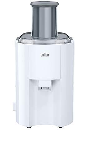 Braun J300WH Spin Juicer extractor for whole fruit, citrus & vegetables 800 Watt, 2 speeds, anti splash spout, dishwasher safe parts- White
