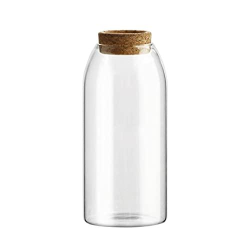 bjyx Tarro de cristal de borosilicato sin plomo con tapón de corcho para almacenamiento de café y té de frutas secas (capacidad: 500/800/1200 ml) (tamaño: 500 ml)