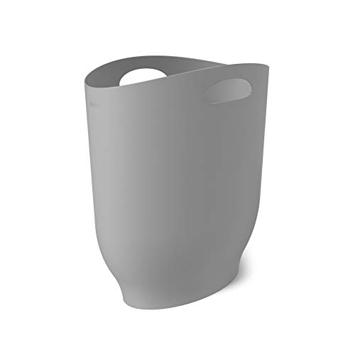 umbra Harlo Sleek & Stylish Bathroom Trash, Small Garbage Can Wastebasket for Narrow Spaces at Home or Office, 2.4 Gallon Capacity, Grey