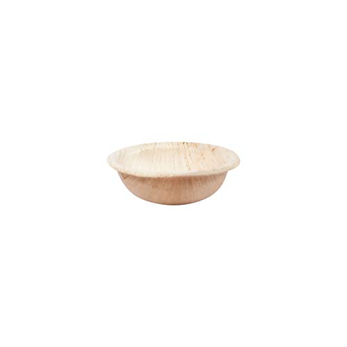 LUXENTU Einweggeschirr aus Palmblatt | Teller, Suppenteller, Schalen | Wegwerfgeschirr Partygeschirr I biologisch abbaubar (Schale Rund 6,5cm (25 pcs.))