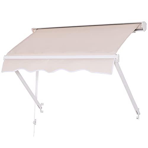 Outsunny Tenda da Sole Avvolgibile a Caduta in Alluminio e Poliestere 280 g/m2 Impermeabile in PU...