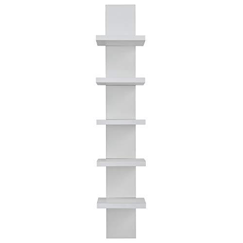 Danya B 5 Tier Wall Shelf Unit Narrow Smooth White Laminate Finish - Vertical Column Shelf Floating Storage Home Decor Organizer Tall Tower Design Utility Shelving Bedroom Living Room (White)