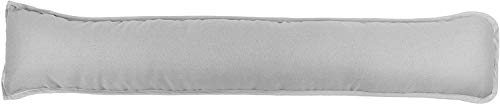 Pavla-Outlet Plain Dyed Fabric Draught Excluder Hollowfibre Filled Draught Stopper Cushion Bottom of Door Window Draft Guard Energy Saver Draft Insulator - 90x18cm (Silver, Pack of 1)