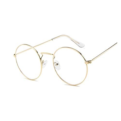 Gafas de sol redondas de metal clásico clásico clásico para mujer pequeña nueva marca retro rojo naranja rosa claro gafas de mujer sombras UV400 (lente color: GoldTrans)