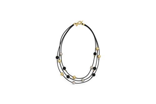 NIEVOS JEWELRY Collar corto de oro de 24 quilates, chapado en plata 925 y cuentas de acrílico negro en 3 cordones de longitud, diseño clásico moderno y único, hecho a mano en Israel