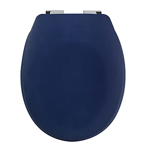 spirella Tapa de inodoro ovalada de alta calidad con acabado mate y cierre lento lento, antibacteriana, duroplast y acero inoxidable, color azul