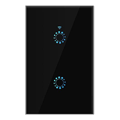 Andifany Interruptor de Luz de Contacto de 2 Gang Interruptor de Pared para el Hogar Inteligente de Wifi EstáNdar de US. / AU para Home Alexa Life APP