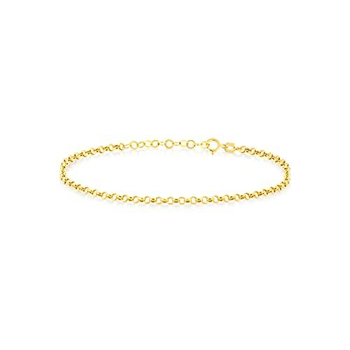 GELIN - Pulsera ajustable de oro macizo de 14 quilates para mujer