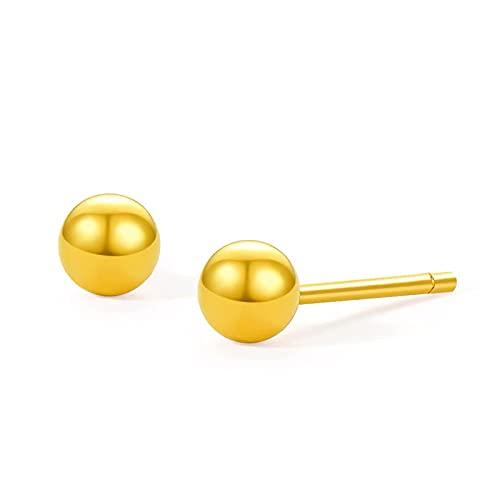 Aretes De Perlas De Oro Brillante De Oro Arena Aretes De Guisantes Brillantes Chapados En Oro De Latón Temperamento De Moda Para Damas