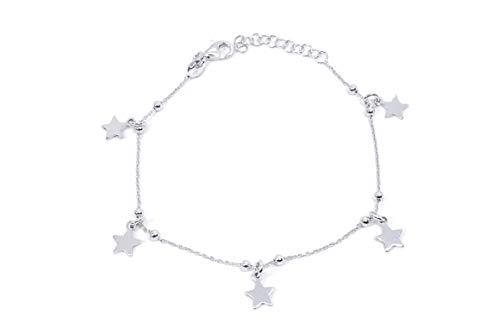 MAGICMOON - Mod. VTP10000349 - Elegante pulsera de mujer de bolas de plata 925 rodiada con estrellas