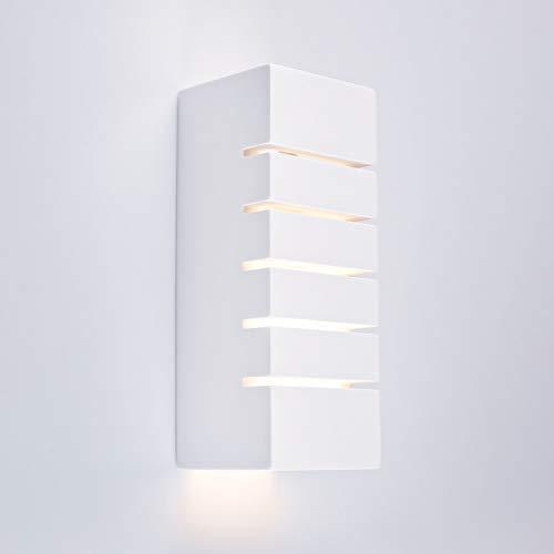 Innenleuchte Wandleuchte Wandlampe aus Gips MARINO (Quadratisch, Weiss) Inkl. 1 x MARINO Eckig Wandbeleuchtung Leuchte Up-Down, Fassung E14 – Ohne Leuchtmittel