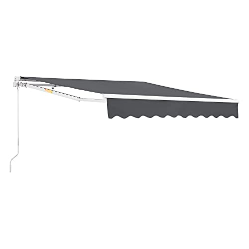 [en.casa] Markise 350x250cm einziehbare Gelenkarmmarkise mit Handkurbel Sonnenschutz für Balkon Terrasse Balkonmarkise UV- und witterungsbeständig Dunkelgrau