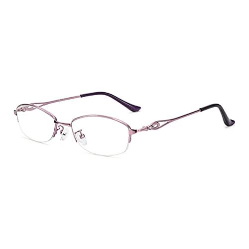 Gafas de Lectura de Media Montura de Metal para Mujer, Lente de Resina de Alta definición, Antideslumbrante, Antifatiga Gafas de Ordenador para Personas Mayores,Púrpura,+1.50