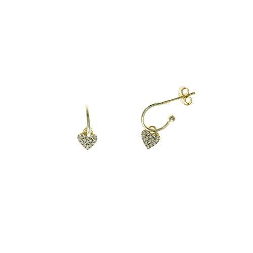 Pendientes Salvatore plata 213A0142 tipo aro con corazón realizados en plata de ley con chapado dorado. Cierre a presión. Medida 1 cm.