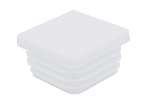 10 tappi quadrati per tubi, tutte le misure da 10 x 10 mm fino a 120 x 120 mm, per mobili, tappi di protezione, recinzione, paletti, sedie, ringhiere, tappi, tappi quadrati (25 x 25 mm, bianco)