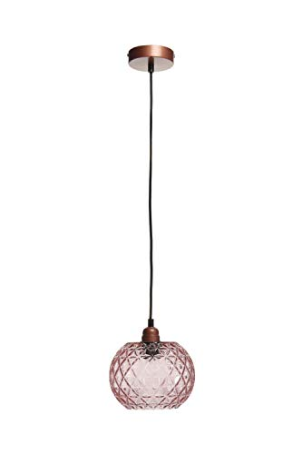 Retro Lampe Glas Leuchte Hängelampe Hängeleuchte Rund Oval Rosa