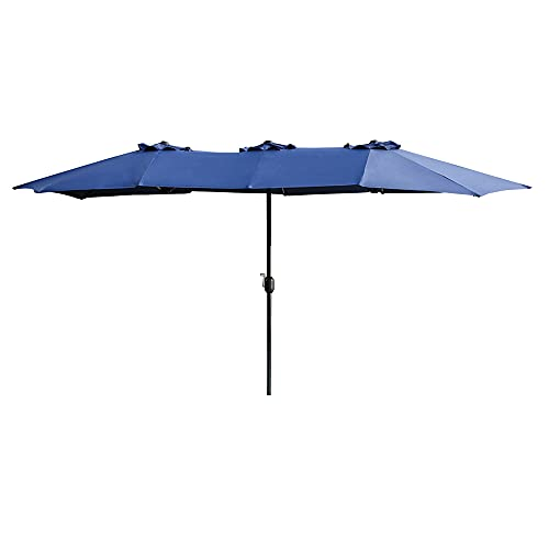 LOKATSE HOME 15 Ft Twin Patio Umbrella Double Sided Outdoor Sunshade Canopy...