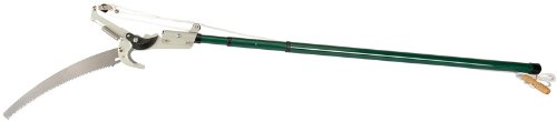 Arbre Sécateur avec manche télescopique – Capacité de coupe 32 mm Dia. – Comprend Twist and Lock Manche télescopique extensible de 1,37 m à 2,50 m avec lame scie d'élagage courbée détachable 355 mm lame de coupe longue et rope-operated. Emballage carton.