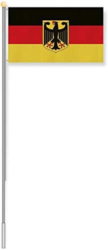 normani Aluminium Fahnenmast 6,20 Meter, inkl. Deutschland-Flagge Größe 8.00 Meter