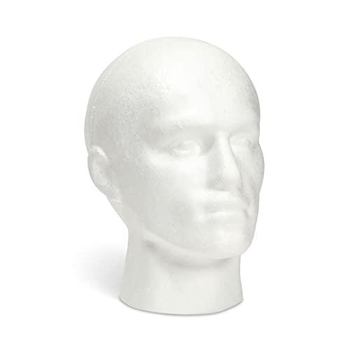 Male Mannequin Head, Foam Wig Stand (White, 9 x 11 In)