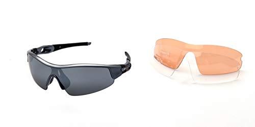 Ravs Kontrastverstärkte Sportbrille Sonnenbrille - Kitesurfbrille Radbrille Bergbrille Schutzbrille Unisex inkl. 3 Wechselgläser !