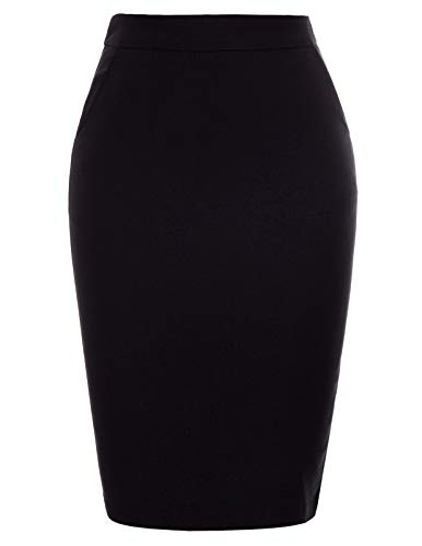 Kate Kasin Women's Solid Color Split Stretchy Hips-Wrapped Bodycon Knee Midi Pencil Skirt Black, X-Large