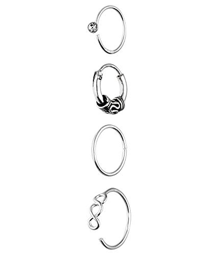 SIX Set aus Creole und Piercing aus 925er Silber für Damen (619-970)
