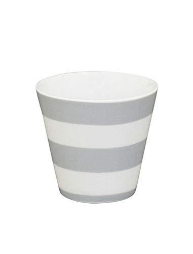 Krasilnikoff - Espressotasse, Espressobecher - Streifen - grau, weiß - Höhe: 6 cm - ca. 90 ml - Porzellan