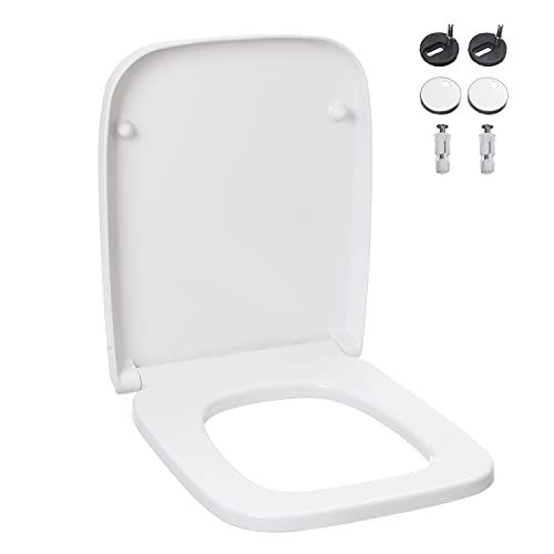 Duroplast WC Sitz mit Absenkautomatik, Klobrille D-Form Weiß, WC Deckel mit Quick-Release Funktion für Leichte Reinigung, Antibakteriell