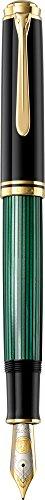 Pelikan Pluma estilográfica de lujo Souverän linea M1000, verde/negro, plumín F en oro bicolor...