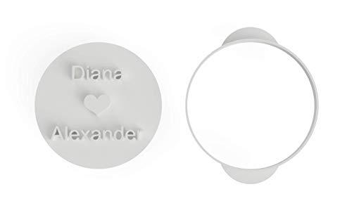 inidividualisierter Keksausstecher/Keksstempel individueller personalisierter Ausstecher für Gastgeschenke Kekse Hochzeit Jahrestag aus Bio-Kunststoff Made in Germany