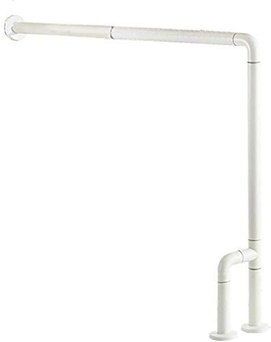Barra de agarre de pared a suelo, curvada para inodoro, ducha o bañera, barandilla segura para personas mayores con discapacidades, rieles de seguridad para baño (color: blanco)