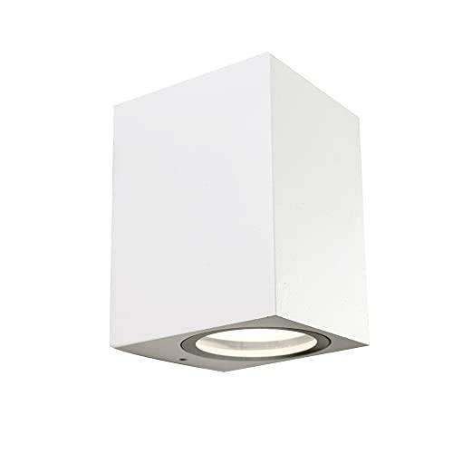 Wonderlamp - Aplique de pared exterior Classic, Máx. 35W, Impermeable IP 44, Lámpara Exterior Moderno, Blanco Mate, 1 Luz GU10