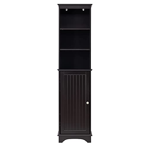 Spirich Home Freestanding Storage Cabinet with Three Tier Shelves, Tall Slim Cabinet, Free Standing Linen Tower, Espresso Finish