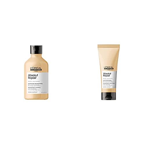 L'Oréal Professionnel | Champú Tratamiento Reconstructor para cabellos secos y dañados, 300mL + Acondicionador reconstructor para cabellos secos y dañados, Absolut Repair, SERIE EXPERT, 200ml