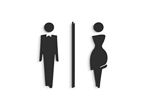 3DP Signs - Targa Bagno a Rilievo (15 cm) - Set Adesivo Toilette di Design SA110 - Targhette Bagno Uomo Donna - Adesivi WC Restroom (Prime Nero)