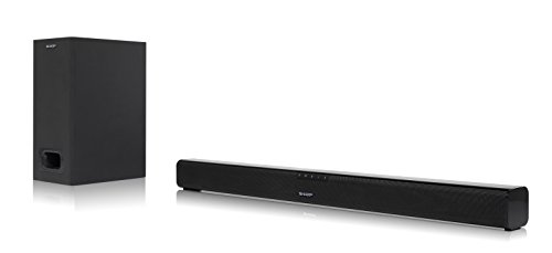 Sharp HT-SBW110 2.1 Slim - Barra de Sonido Cine en casa (Bluetooth, HDMI ARC CEC, Potencia máxima Total de Salida: 180w, Audio óptico Digital, AUX, 80 cm) Color Negro