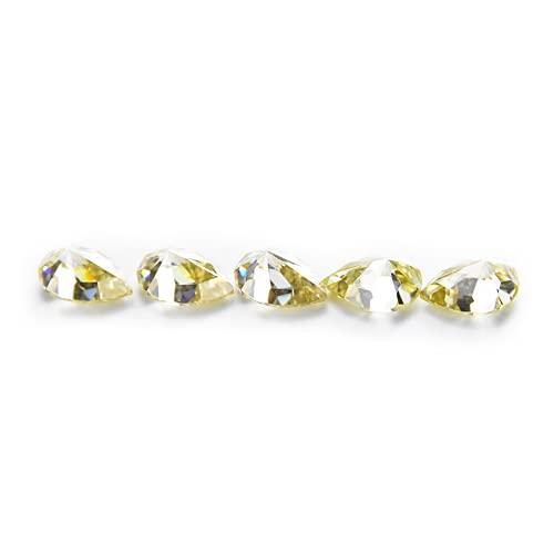 Wuluwala Diamantes sueltos de forma especial, mossang amarillo en forma de pera, personalizable, bolígrafo con certificado GRA código de cintura