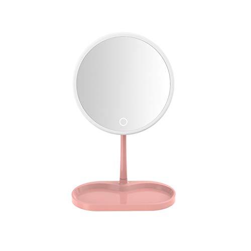 C-J-Xin Miroir Maquillage ronde, Beauté de bureau Miroir en plastique Portable Glow Vanity Mirror fille simple face stockage objectif Miroir de maquillage (Color : Pink, Size : 31.5 * 19.7CM)