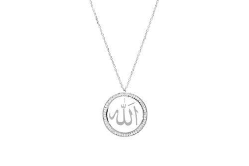 Remi Bijou Halskette 925 Sterling Silber Allah Symbol Islam Muslim, ColorName:Silber