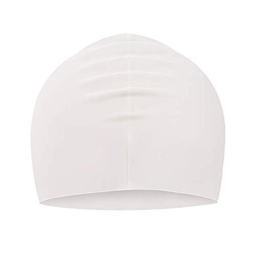 Suntrade, cuffia da nuoto in silicone, impermeabile, per uomo e donna, a pelo lungo e corto, colore bianco