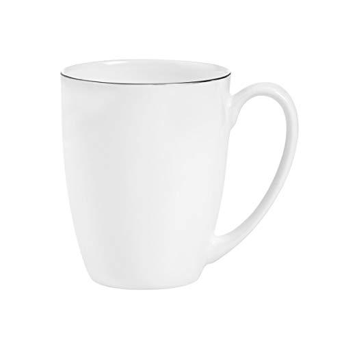 BUTLERS Silver Lining Kaffeetasse 240ml - Weiße Tasse aus Qualitätsporzellan - Hochwertiges Service, Teetasse mit Henkel