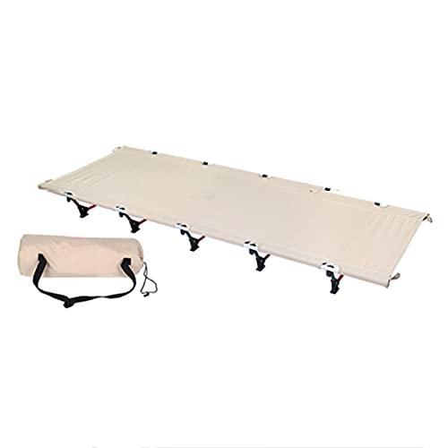 Cama de Camping Plegable Cama Plegable Que acampa, Cama de Tienda Individual Ultraligera, Cuna portátil con Estructura de Aluminio (Color : Beige)