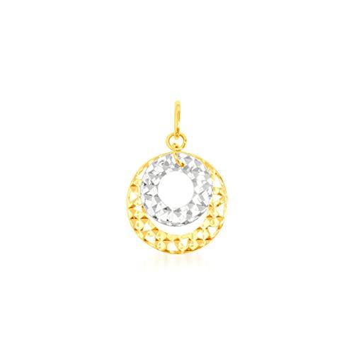 Colgante de oro bicolor de 9 quilates con doble círculo diamantado, piedra de circonio 13/13 mm, peso: 0,54 g.