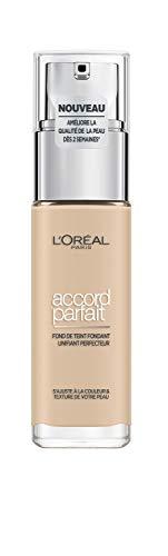 L'Oréal Paris - Fond de Teint Fluide Accord Parfait - Peaux Sèches à Normales - Teinte : Ivoire (1.N) - 30 ml