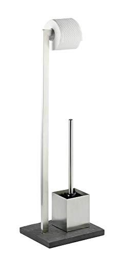 Wenko Stand WC-Garnitur Slate-Rock, Ständer für Toilettenpapier, Toilettenbürste, WC-Papierhalter in Schiefer-Optik, stehender Rollenhalter inkl.Bürste, rostfreier Edelstahl, 23x73,5x19,5cm, anthrazit