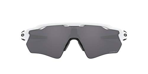 Oakley Men's OO9208 Radar EV Path Rectangular Sunglasses, Polished White/Prizm Black Polarized, 38 mm