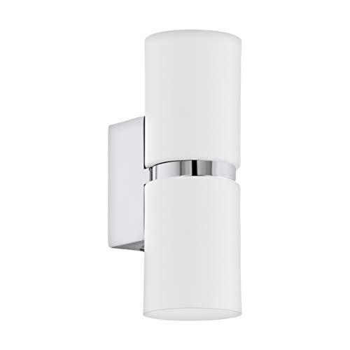 EGLO LED Wandlampe Passa, 2 flammige Wandleuchte modern, Wandstrahler innen aus Metall in Weiß und Chrom, Wohnzimmerlampe, Flurlampe mit Up and Down Light, rund, GU10 Fassung