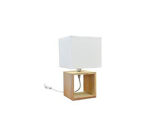 Lampe de table design moderne avec base en bois et cloche en tissu blanc abat-jour 33 x 18 cm ampoule E 14